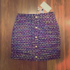 Lovers and friends Mini skirt with rainbow tweed